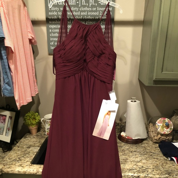 542e9fd348a Mori Lee Bridesmaid 21570 Chiffon Bordeaux dress